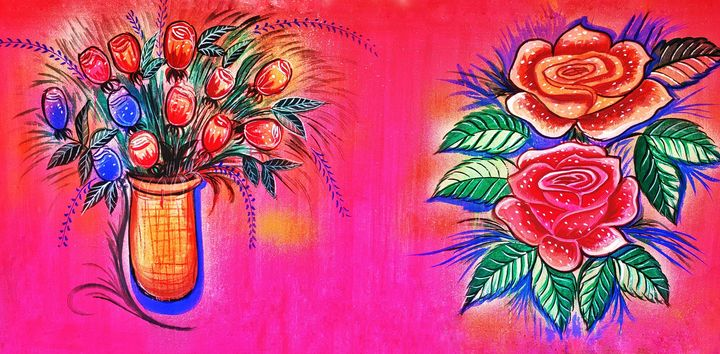 Bouquet of flower and rose plant - India Tribal Art