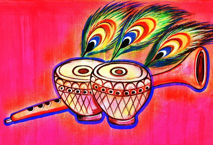 Musical Instrument painting - India Tribal Art