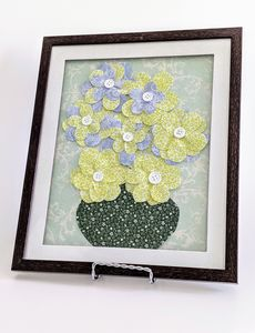 Olive Green/Blue Flowers