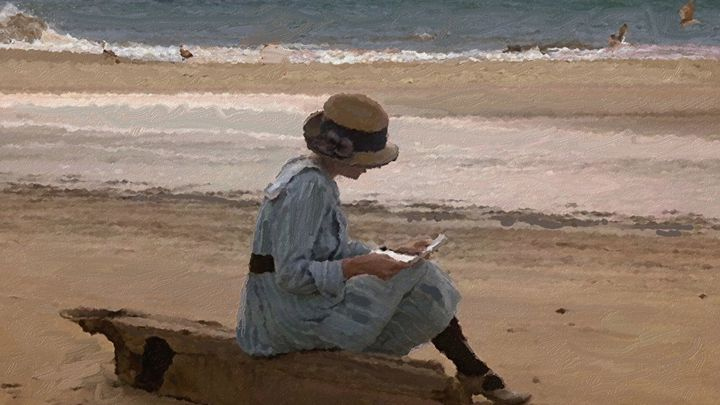 Reading on the Beach - CAROLYN SCHUSTER