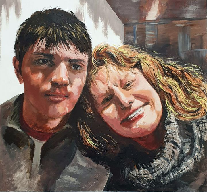 Mother and Son Portrait, Acrylic - aniazmand