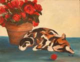 Cat and Roses