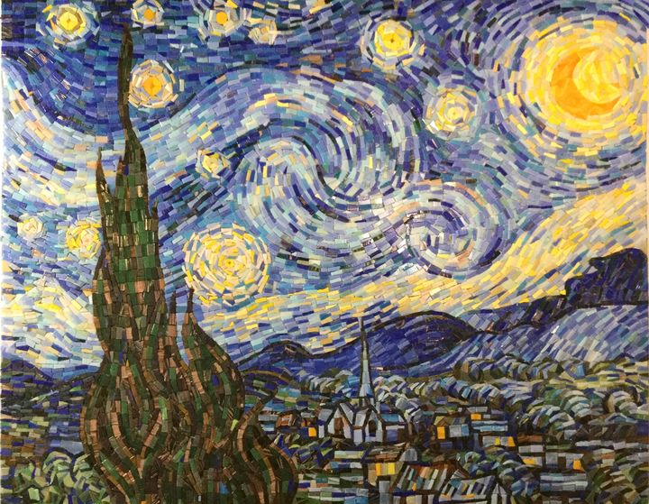 Vincent van Gogh Starry Night Mosaic - Fantasy Mosaic Art