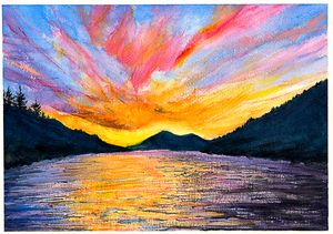 Norwegian Lake at Sunset