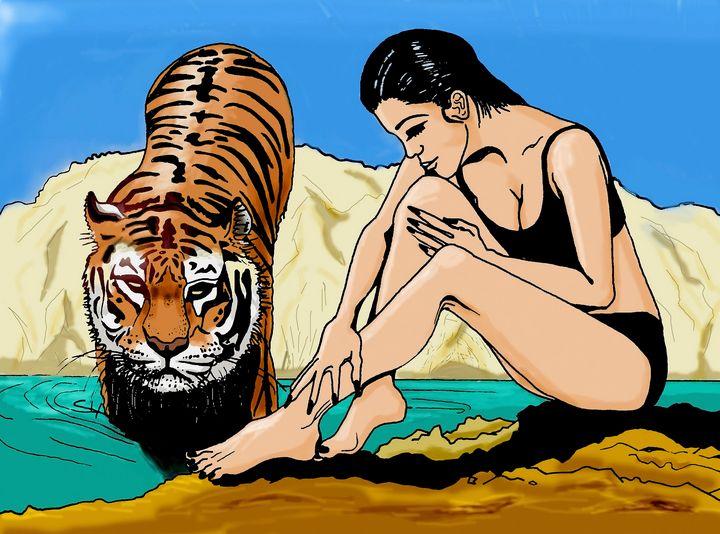 femme et tigre - Nika