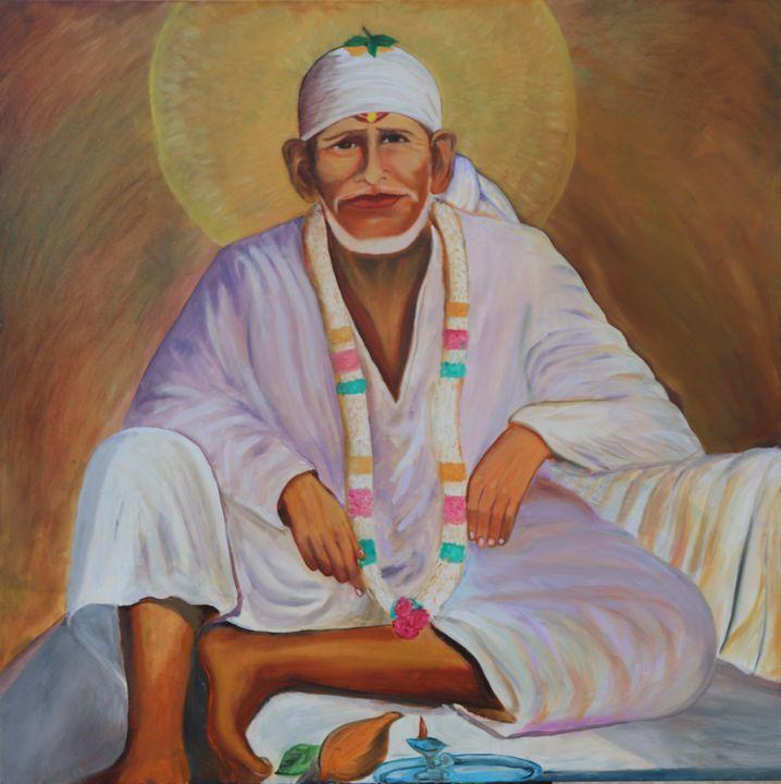 Shiridi Sai Baba Sitting Oil Paint - SS Art Studio