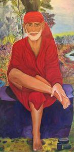 Shiridi Sai Baba Oil Paint