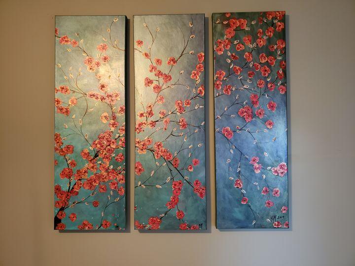 Metallic and color shift red flowers - Kathlene melvin