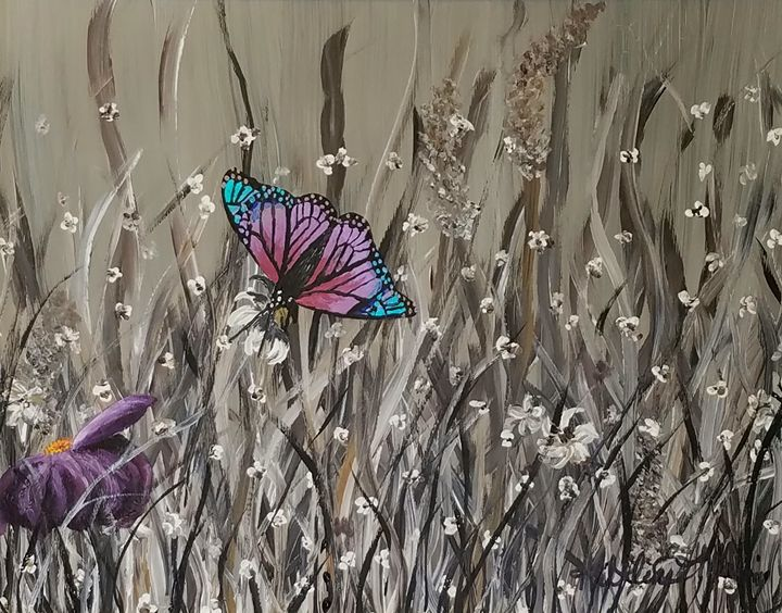 Colorful butterfly and flower - Kathlene melvin