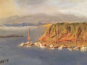 """Coastal boats - Pastel 5x7"""""""