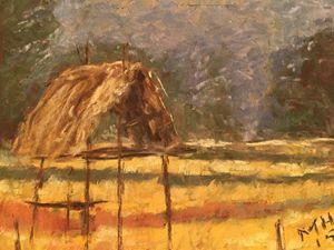 "Rice field - Pastel 5x7"""