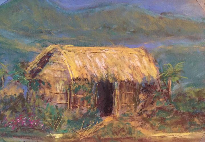 """Rural hut of Bengal - Pastel 5x7"""" - MiniPastels"""
