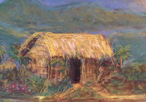 "Rural hut of Bengal - Pastel 5x7"""