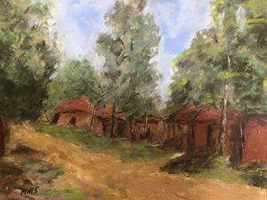 """Rural village - Pastel 5x7"""""""