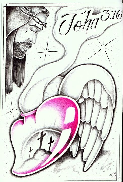 John 3:16 - Prison art by Jose Z