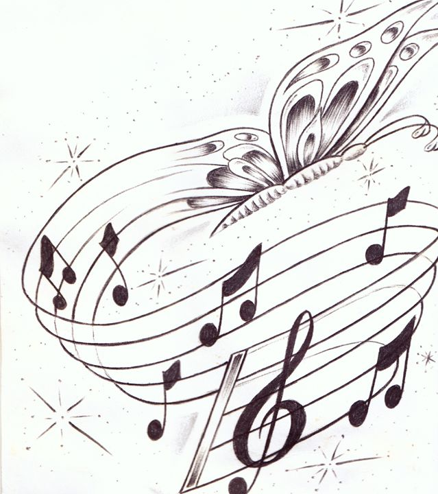 butterflies and music - Prison art by Jose Z