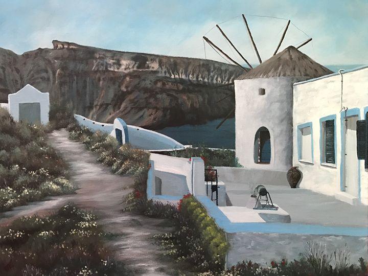 Windmill in Oia - Rising Sun Studio