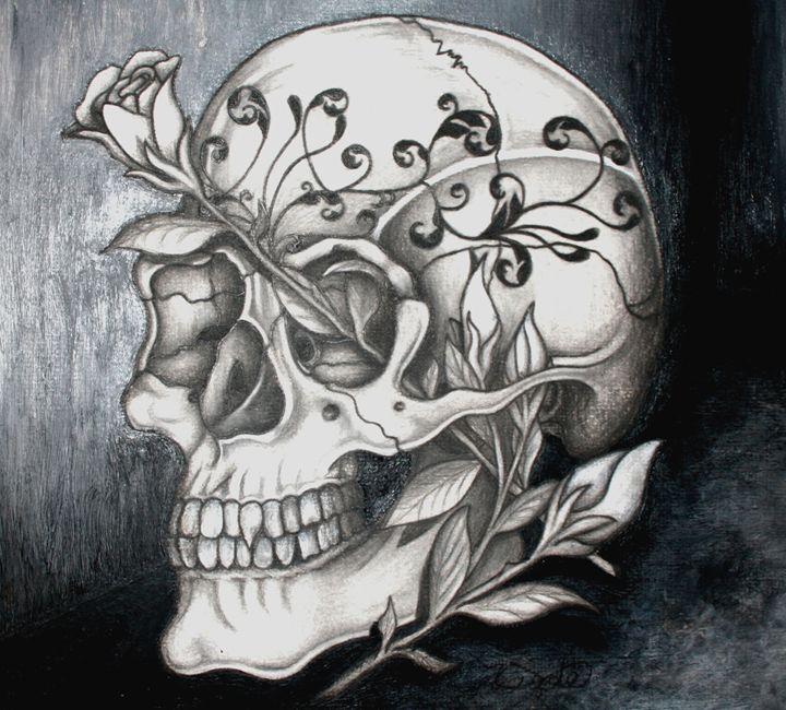 Skull and Roses - Sticky Nikki's Art!