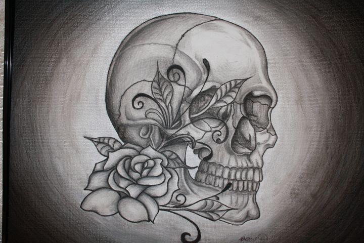 Rosey bone Skull - Sticky Nikki's Art!