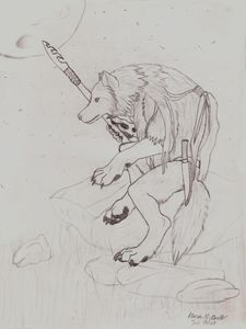 Native Werewolf on a Rock