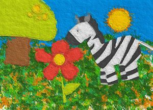 Zebra and the flower