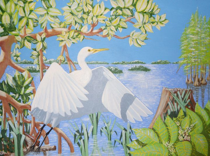 Egret In GLades - Dan Bader