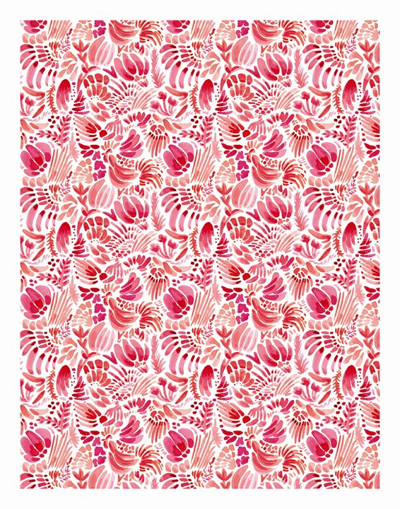 Happy Florals and Rooster Print - Flower and Vine