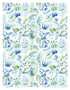 Cool Blue Watercolor Pattern