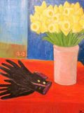 dafodills bouquet with gloves a