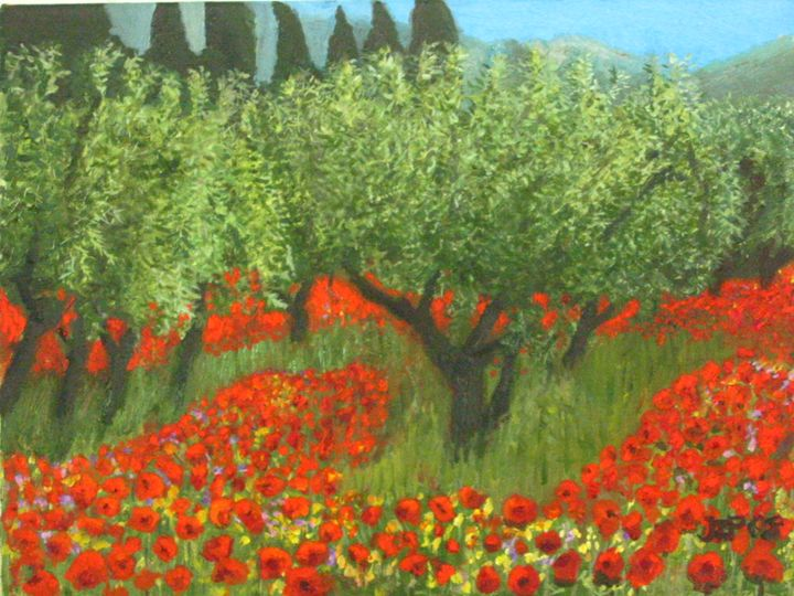 Poppies field and Olive trees , - L'Orangerie