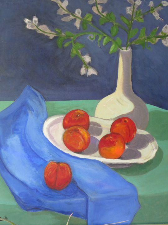 nectarines,vase&blue cloth - L'Orangerie