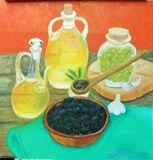 olive bowl and jar olive oil bottles