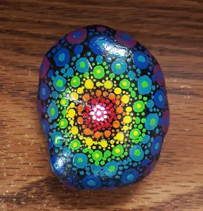 Rainbow Mandala River Rock