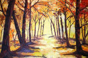 road through forest - wallpaintingslk