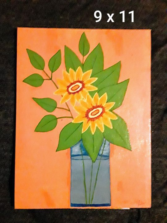 Sunflower and vase - Crazy lady's art