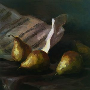 Pears and music sheet