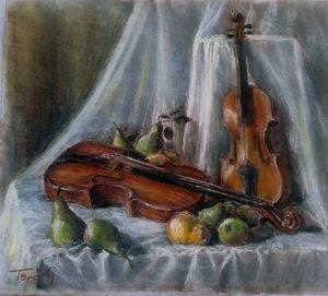 Violin, viola and pears