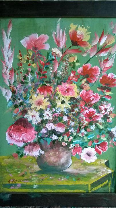 Vase red  flowers - Ahmad Almasri