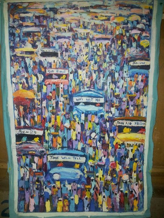 A busy market place - wisdom paintings