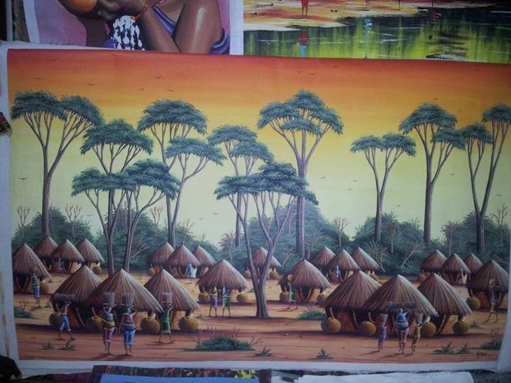 village scene - wisdom paintings