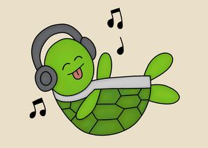 Green Turtle Jamming Out