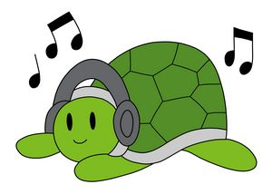 Green Turtle with Headphones