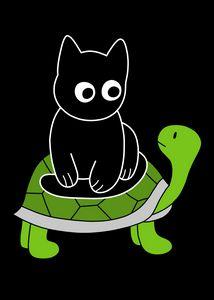 Black Cat Riding on Green Turtle - Pako