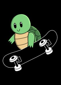 Green Turtle on Skateboard