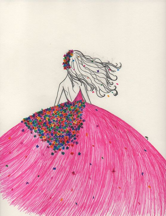 Pink flower girl - Daydream Wall Art