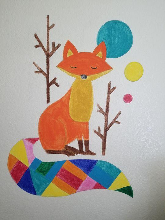Rainbow fox - Daydream Wall Art