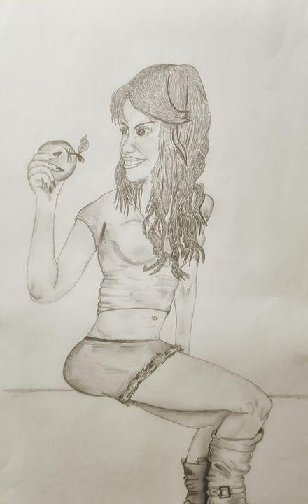 Beautiful girl sharing happiness - Artwork drawings