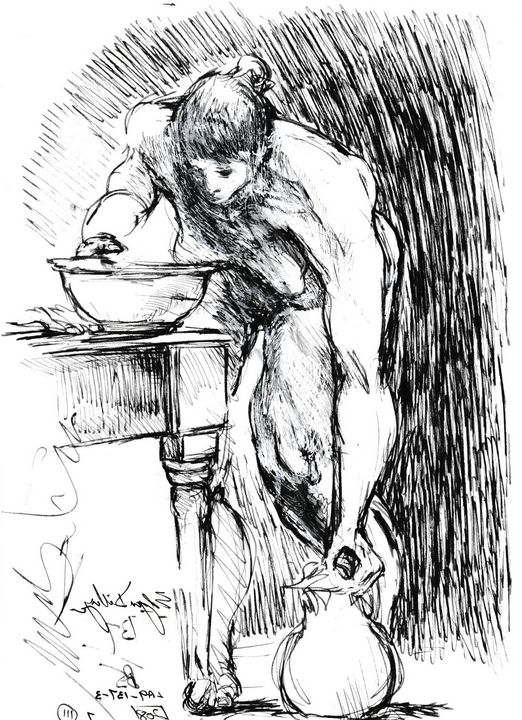 Woman washing LA9-137-3R - Edgar Pillinger