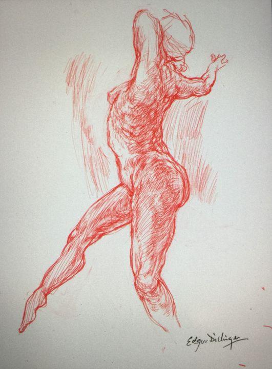 LA5D-65 Woman in red chalk series - Edgar Pillinger
