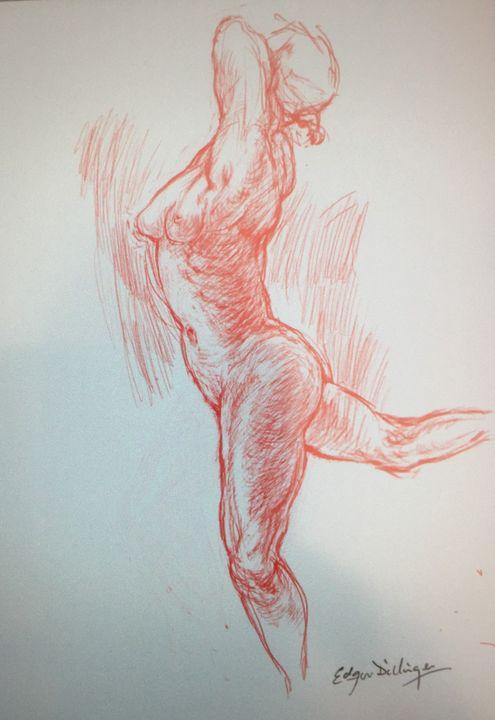 LA7-234 Woman in red chalk - Edgar Pillinger